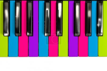 Multicolored Disco Style Piano Keys