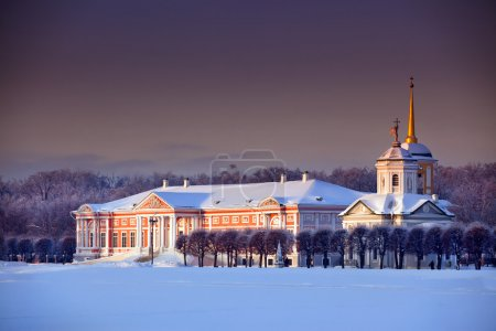 Winter landscape with Moscow estate Kuskovo at sun...
