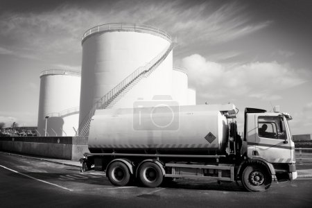 Truck With Fuel Tank , Black and White