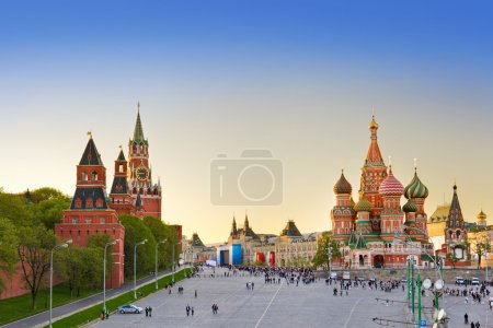 Red square, Moscow at sunset