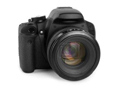 Photo pour Une caméra noire isolée sur fond blanc - image libre de droit