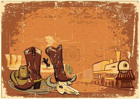 wild western background on old paper texture.Grunge