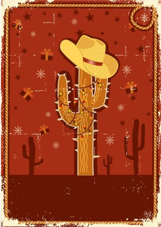 Illustration for Cowboy christmas card with cactus and winter holiday decoration for text on old paper texture - Royalty Free Image