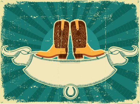 Cowboy boots card on old paper .Vintage background
