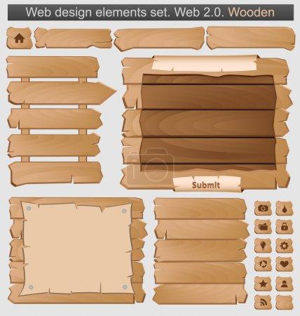 Illustration pour Ensemble d'éléments en bois. Illustration vectorielle - image libre de droit