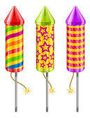 Firework rockets of different color on white vector illustration