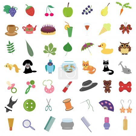 Illustration for Set with many different objects on white - Royalty Free Image
