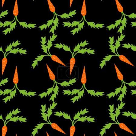 Illustration pour Fond sans couture aux carottes sur fond noir - image libre de droit