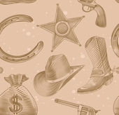 Seamless cowboy pattern in engraving style