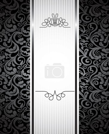 Illustration for Floral background with copy space for text - vector illustration in black and white - Royalty Free Image