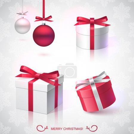 Illustration pour Cadeaux de Noël décorés de rubans - image libre de droit