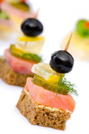 Photo for Canape served in the plate - Royalty Free Image