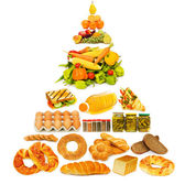 Potravinová pyramida se spoustou položek