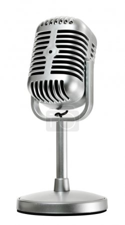 Retro microphone, side view, isolated on white...