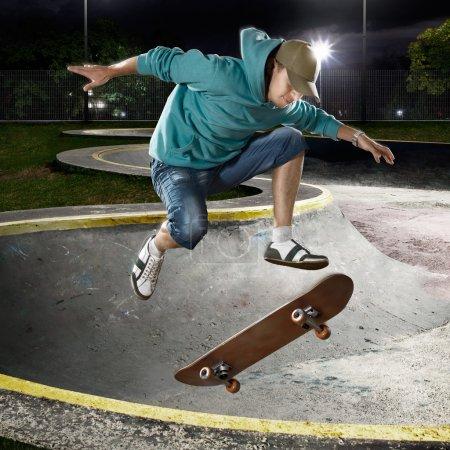 Skate boarder jumping