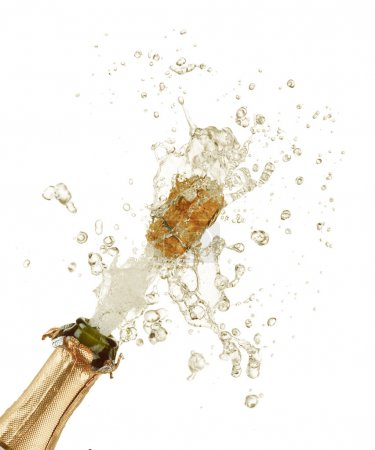 Photo for Close-up of explosion of champagne bottle cork - Royalty Free Image