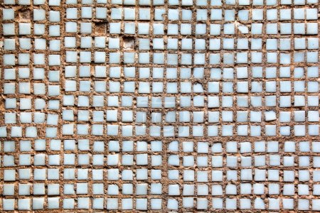 Photo for Concrete wall revetted with small ceramic tiles - Royalty Free Image