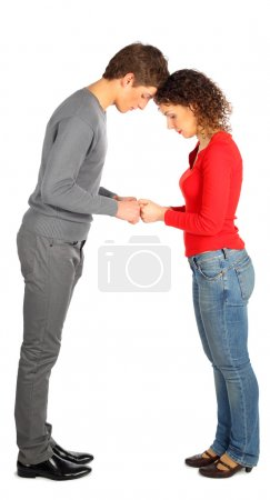 Young man and woman represents letter