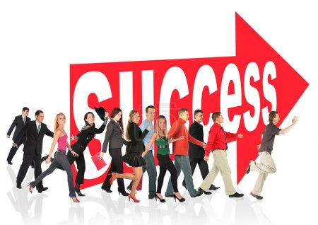 Business themed collage, run to success following the arrow sign