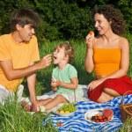 Happy family of three on picnic in garden...