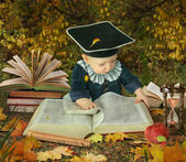 Little boy with many books in autumnal park collage