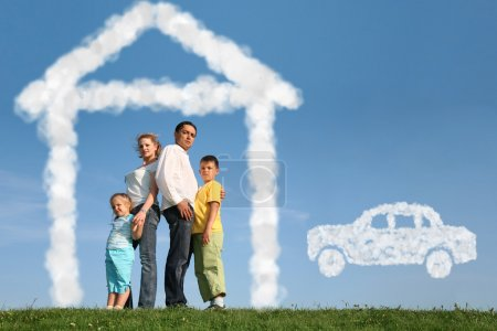 Photo for Family of four dreams about house and car, collage - Royalty Free Image