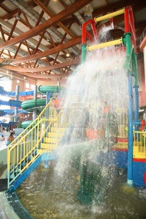 Waterfall in aquapark