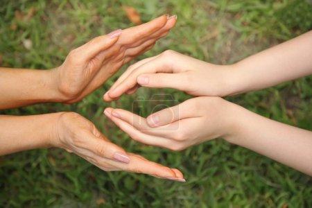 Photo pour Quatre mains sur fond d'herbe - image libre de droit