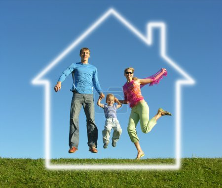 Photo for Fly happy family with dream house - Royalty Free Image