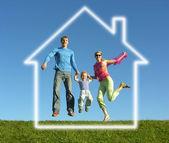 Fly šťastná rodina s dům snů