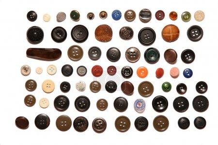 Photo pour Nombreux boutons isolés sur blanc - image libre de droit