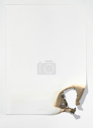 Photo for The sheet of paper by the burned edge against the white background - Royalty Free Image