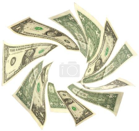 Dollars vortex isolated on white background