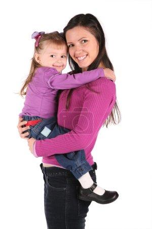 Photo pour Mère avec bébé isolé sur blanc 2 - image libre de droit