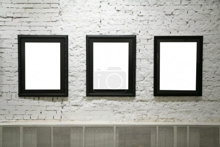 Photo for Black frames on white brick wall - Royalty Free Image