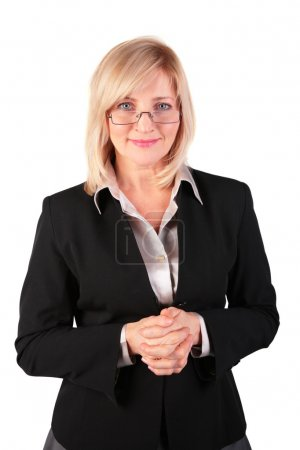 Middleaged business woman posing in glasses