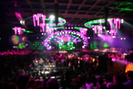 Photo for Defocused abstract lights in nightclub. big concert. - Royalty Free Image