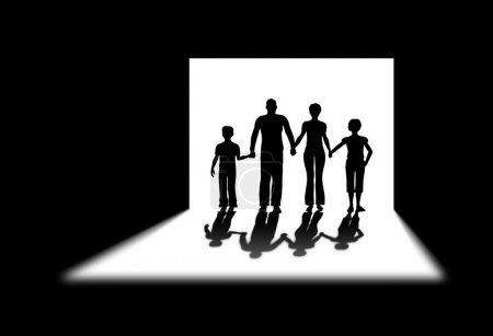 Photo pour Famille porte ombre - image libre de droit