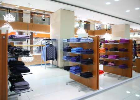Clothing on shelfs in store