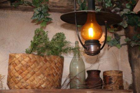 Burning kerosine lamp