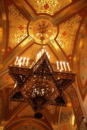 Chandelier under dome of Temple of Christ of Savior in Moscow