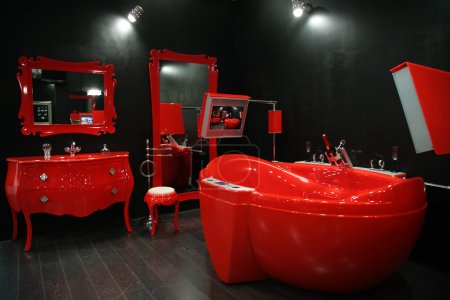 Cool red bathroom