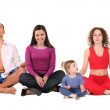 Yoga group with child, collage...