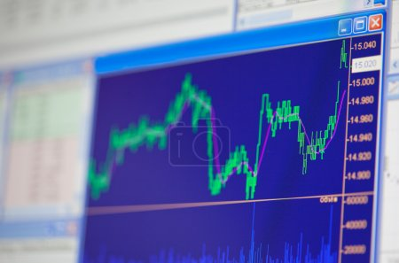 Financial diagrams on monitor screen, close up