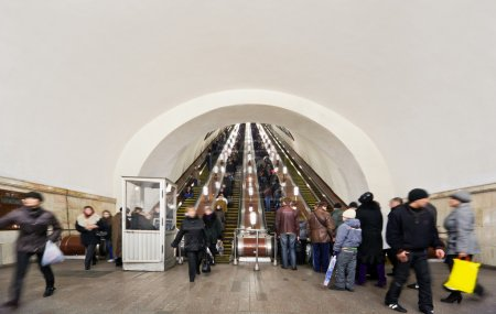 Moscow - March 23: on escalators of metro station Komsomo