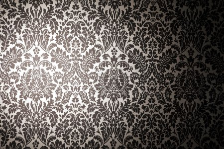 Photo for Black and white pattern wallpaper. photography with a light stain. Vintage style - Royalty Free Image