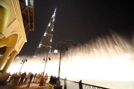 Burj Dubai skyscraper and fountain turned on night time general
