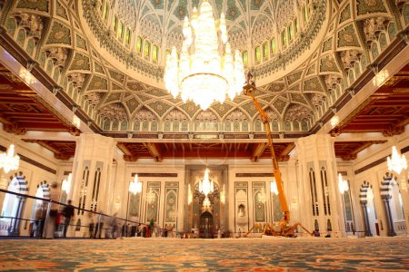 Grand mosque in Oman general view luxury interior