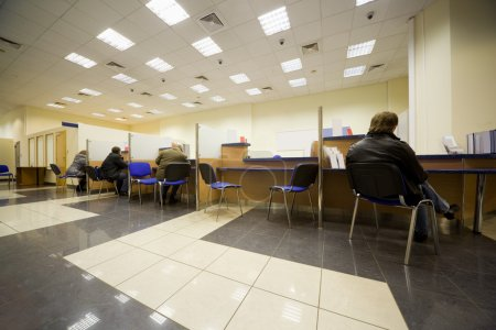 Photo for Bank office, Servicing branch, Cabins of operators, Clients of bank - Royalty Free Image