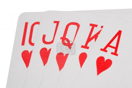 Playing cards of colour of hearts isolated on white background,